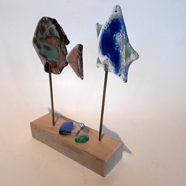 Glass Fish with Wooden Base