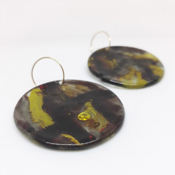 Painted fused glass earing