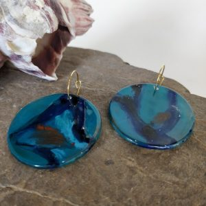 Hand made earing with painted fused glass