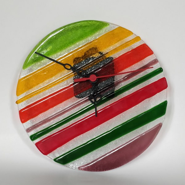 Handmade Fused Glass Wall Clock