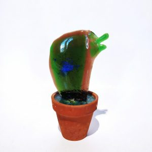 Hand made glass cactus in ceramic