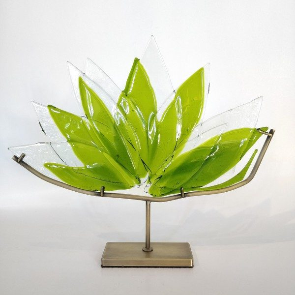Lotus made by fused glass with brass base