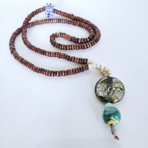 Hand made Necklace with glass and wood
