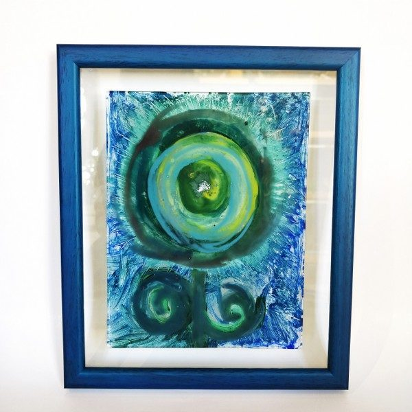 Mystic eyes Glass painting in frame