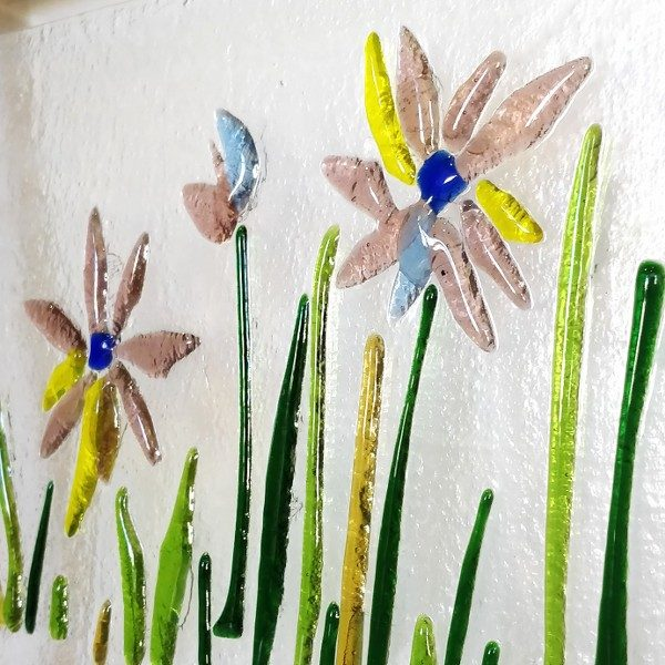 Fused Glass Flowers in the grass