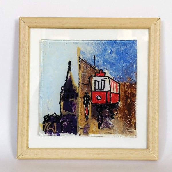 Galata Tower and Trum in Beyoğlu Glass painting in frame