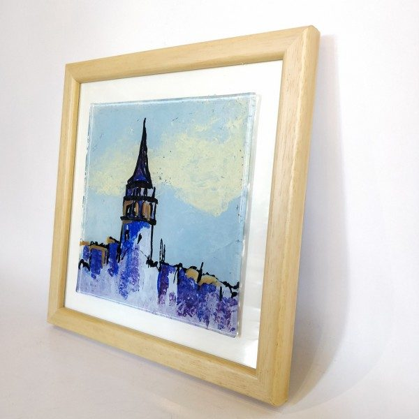 Galata Tower Glass painting in frame