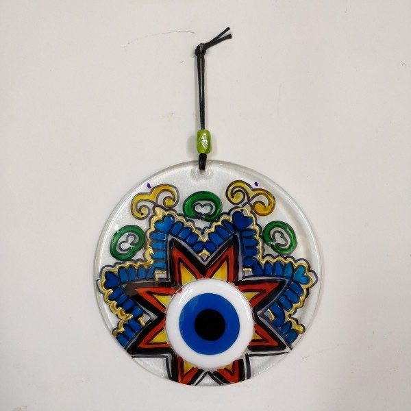 Hand made fused glass evil eye