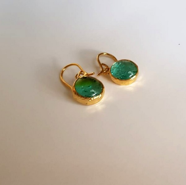 Hand made fused glass and brass earing