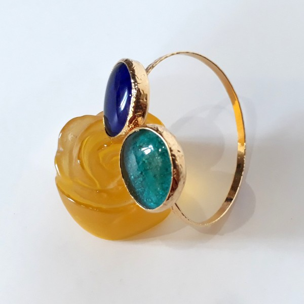 Hand made fused glass and brass bracelet