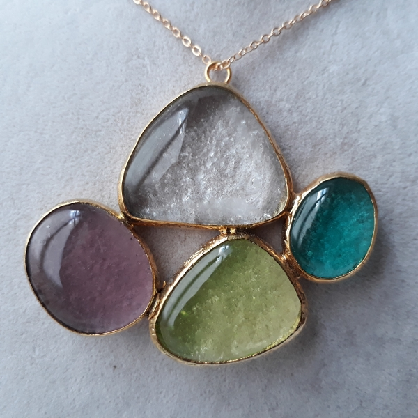 Fused glass necklace with brass
