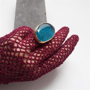 Handmade fused glass ring with brass