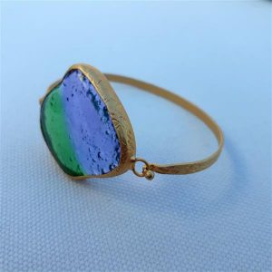 Handmade unique green-purple fused glass bracelet
