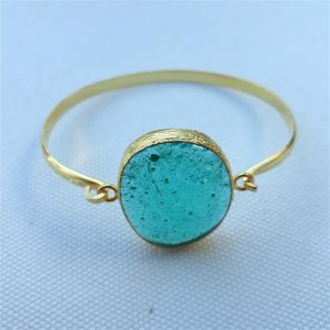 Handmade unique turquoise fused glass bracelet