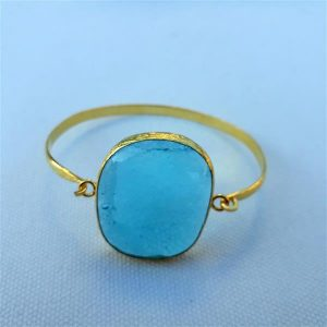 Handmade unique Light Blue Fused glass bracelet
