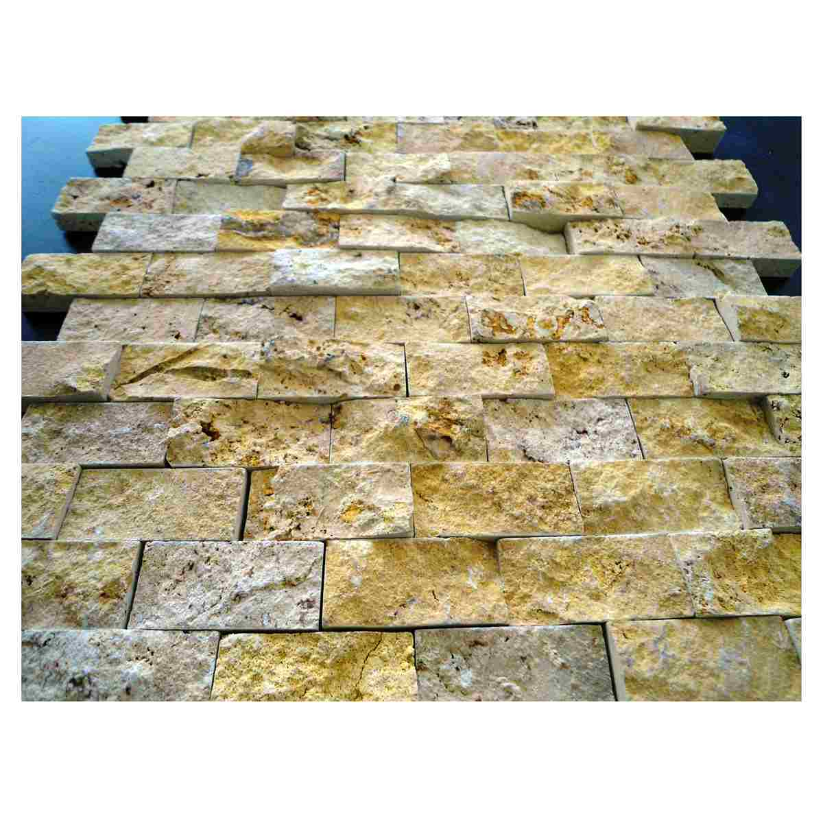 2,3x4,8 Split face golden yellow travertine mosaic