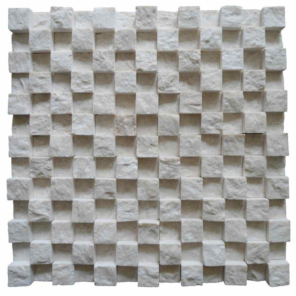 2,3x2,3 3D Split face botticino beiege marble netted mosaicaic