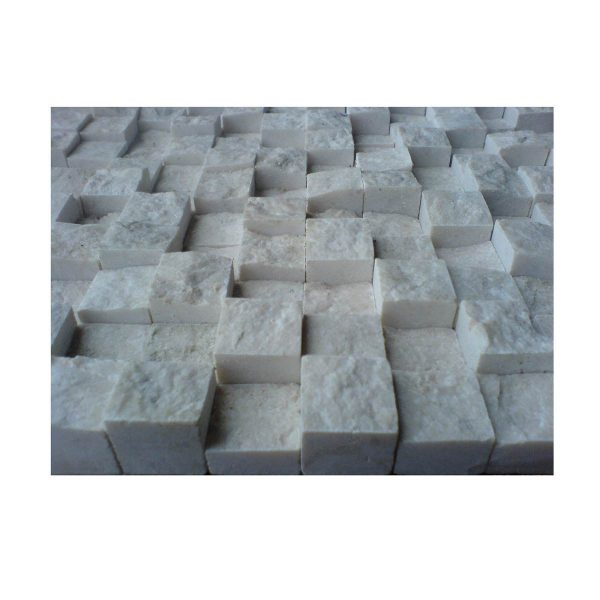 2,3x2,3 3D Split face botticino beiege marble netted mosaic