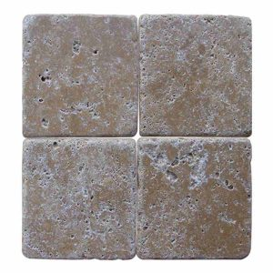 10x10 cm Tumbled antique noche travertine tile